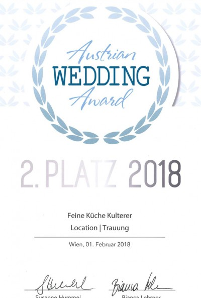 Urkunde-2.-Platz-Austrian-Wedding-Award-Location-Schloss-Maria-Loretto